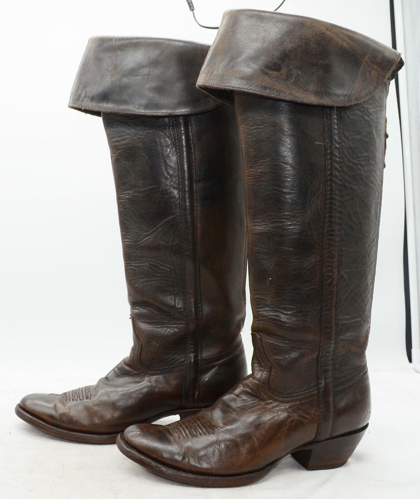 Charlie 1 Horse damen Sz 9 Cuffed Leather Knee High Ride Western Stiefel Back Zip