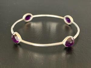 925 Sterling Silver Purple Amethyst Bangle Bracelet Gemstones Semi Precious Gems