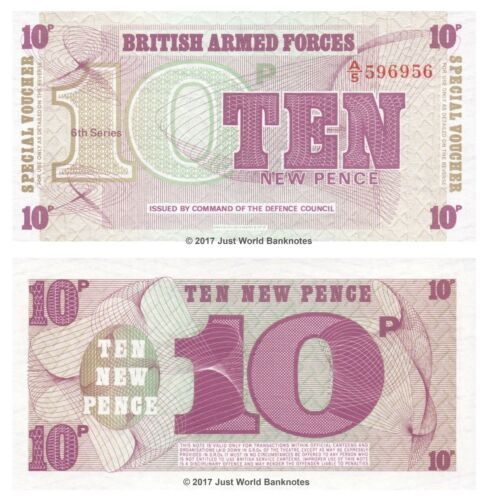 British Armed Forces 10 Pence 1972  6th Series Banknotes UNC