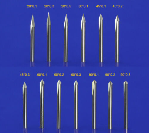 10pc 4mm x15° x 0.5mm double straight flute sharp tool Engraving CNC router bits