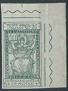 1921-REGNO-DANTE-25-CENT-VARIETa-NON-DENTELLATO-LUSSO-MNH-T100