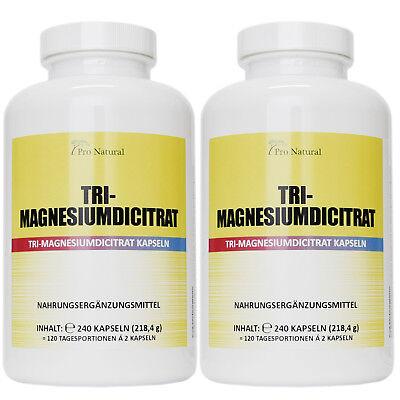 2 Packungen 480 Kapseln Magnesium 780mg Magnesiumcitrat pro Vegan Kapseln