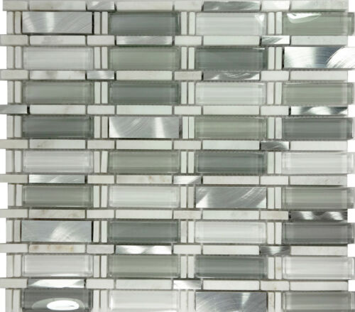 White Gray Glass Stainless Steel Natural Stone Mosaic Tile