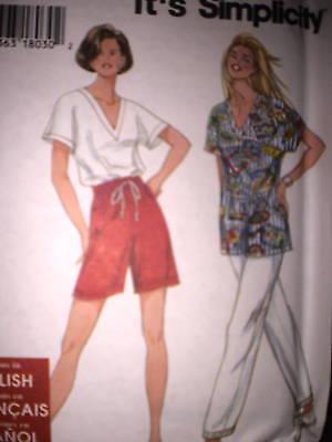 XL OOP UNCUT Vintage Simplicity Pattern Easy Pants Shorts Top 9564 SEWING XS