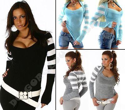 New Sexy Ladies Womens V-Neck Jumper Striped Sweater Bolero Tops size 8/10/12