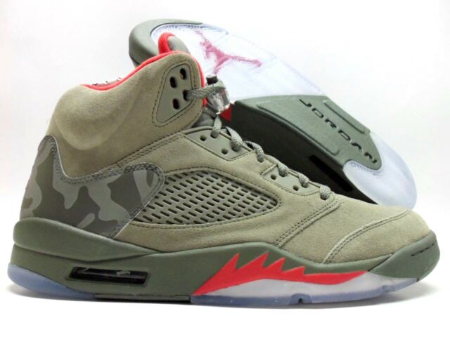 4bd0d671ee83ff Air Jordan 5 V Retro Camo Dark Stucco Green Red 136027-051 Size 14 ...