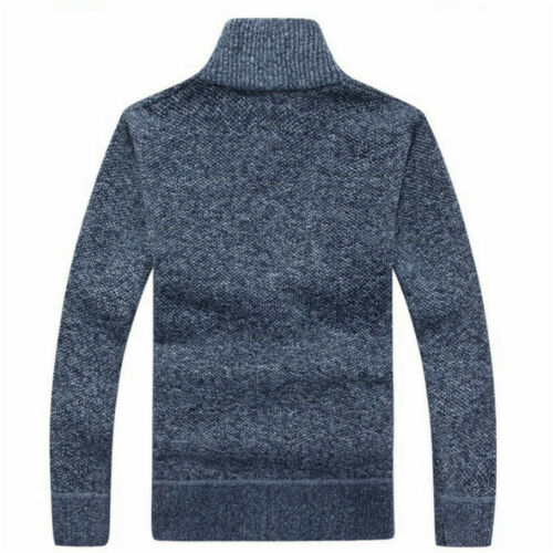 Men Sweater Winter Warm Zip Cardigan Rib Knitted Jumper with Pocket Pullover