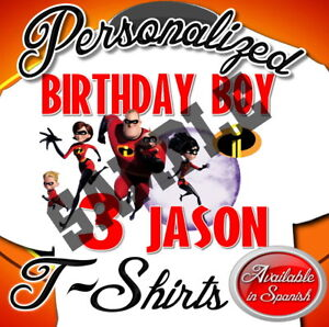 NEW CUSTOM PERSONALIZED THE INCREDIBLES 2 BIRTHDAY T SHIRT PARTY ADD NAME