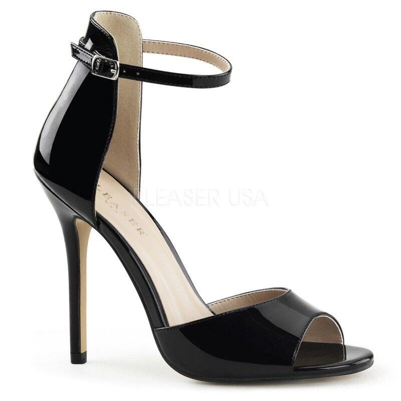 PLEASER AMUSE-14 Ankle-Strap Sandaletten Schwarz Lack elegant edel Abendschuh ..
