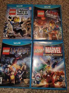 Lot of 4 Nintendo Wii U Games Lego City Undercover The Lego Movie Hobbit Marvel