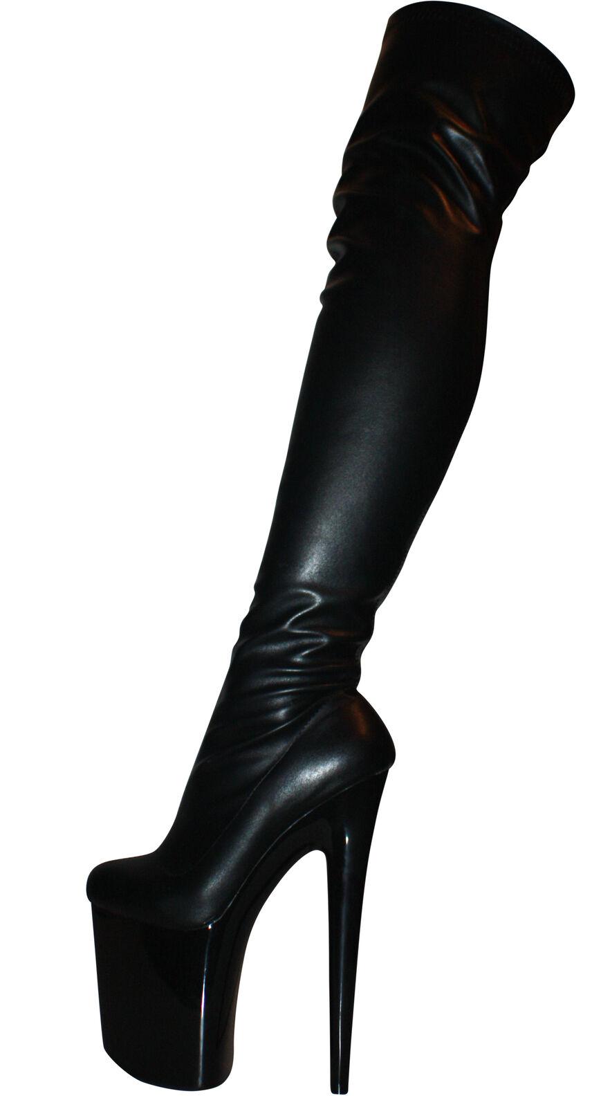 Erogance sexy altas plataforma tacón alto altas sexy botas talla 37-43 nuevo 4986 negro mate 748be0