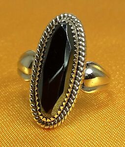 Vintage-925-Sterling-Silver-Hematite-Gemstone-Ladies-Ring-SZ-5-5-Fine-Jewelry