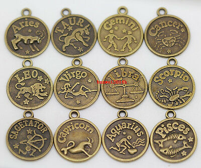 New Retro Style Antique Bronze Round Twelve Constellations Charms Thick Pendants