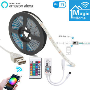 2m-USB-RGB-Smart-WiFi-Strip-Light-TV-Backlight-IP65-Work-with-Alexa-Google-Home