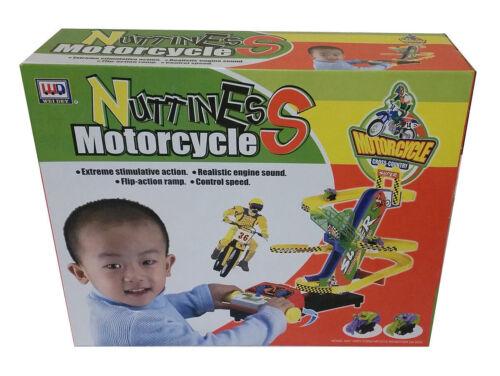 New Kids//Children Motorcycle Set Stunt Bike B//O Race Track Nuttiness Sound UK