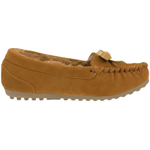 NEW Girls Kids Moccasin Slippers Vegan Leather Suede Moccasin Loafer