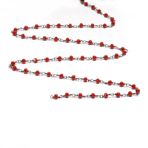 Read Hydro 3mm Rondelle Faceted Beads  Black  Plated 1-20 Fut Rosary Chain S332