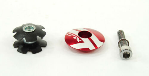 """25.4mm RED STAR NUT AND BOLT 1-1//8/"""" XLC BICYCLE STEM CAP"""