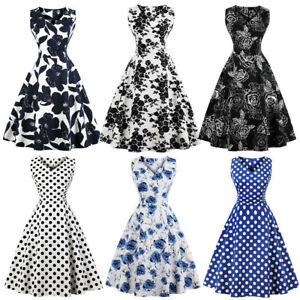 Women-50S-60S-Rockabilly-Vintage-Swing-Pinup-Housewife-Party-Skater-Dress-S-4XL