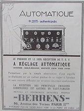 PUBLICITE BERRENS ABELE RECEPTEUR TSF POSTE RADIO DE 1926 FRENCH AD PUB ART DECO
