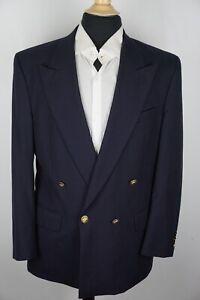 Burberry Navy Blue Peak Lapel DBL Breasted Gold Button Blazer Sport Coat 40R