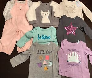 Baby Girl 18m Clothing Bundle Long Sleeve Tops Sweater Outfit Pink Gray Purple Ebay