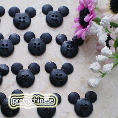 Black Mickey Shape 20mm Plastic Buttons Sewing Scrapbooking Craft