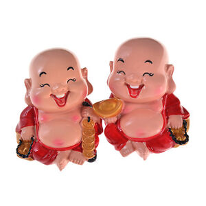1 Pc Cute Laughing Buddha Statue For Happiness Home Decor Good Luck Success New Ebay
