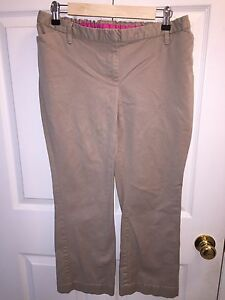 41fb19127cb9e USED LIZ LANGE MATERNITY BROWN CROP CAPRI PANTS SZ 6 WORK PANTS ...