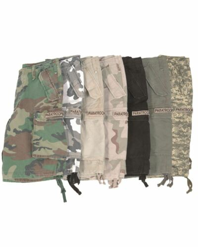 MIL-TEC PARATROOPER SHORTS CARGO ARMY MILITARY STYLE HEAVY DUTY PREWASHED