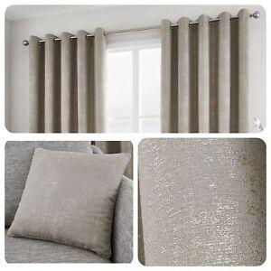 Curtina-SOLENT-Stone-Metallic-Jacquard-Eyelet-Curtain-Cushions-Collection