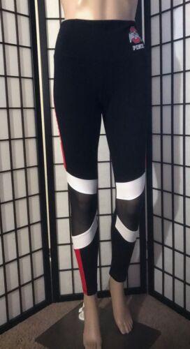 NWT VICTORIA/'S SECRET PINK OHIO STATE BUCKEYES RED BLACK MESH COTTON LEGGINGS
