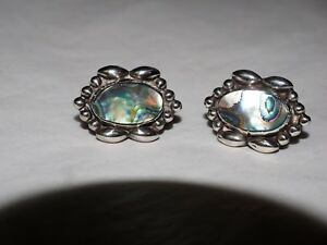 Vintage-Taxco-A-GARCIA-ABALONE-inlay-Earrings-sterling-Silver-HALLMARKED-925