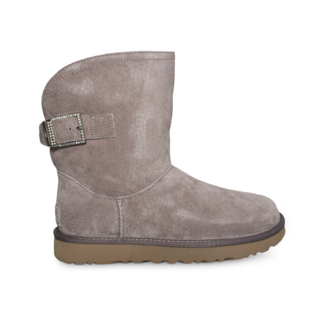 0f05a6b7cc4 UGG Womens Size 7 Remora Buckle BOOTS Stormy Gray Winter Short Warm 1092709