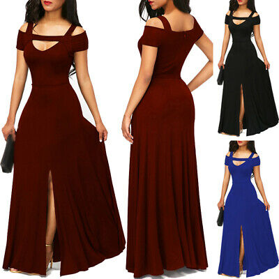 Women Dress Ladies Summer Dress Split Maxi Dinner Long Plus size Holiday  Solid | eBay