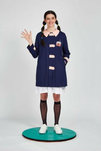 The Whitepepper Contrast Button Trench Coat with Patch Navy Hipster XS #3D362