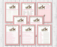 Pink Willow Deer Baby Shower Games Pack - 8 Printable Games