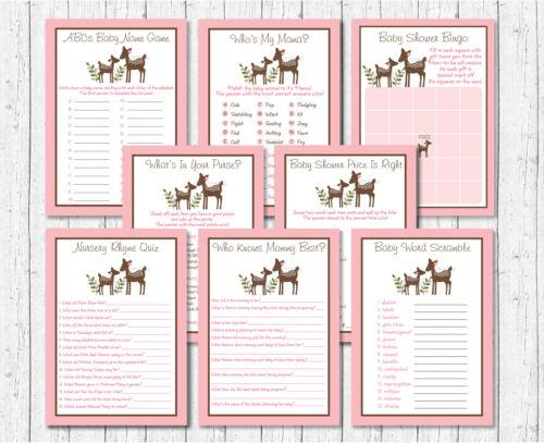 8 Printable Games Pink Willow Deer Baby Shower Games Pack