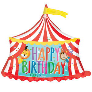 Image is loading Happy-Birthday-Circus-Tent -SuperShape-Carnival-Showman-Theme-  sc 1 st  eBay & Happy Birthday Circus Tent SuperShape Carnival Showman Theme Party ...