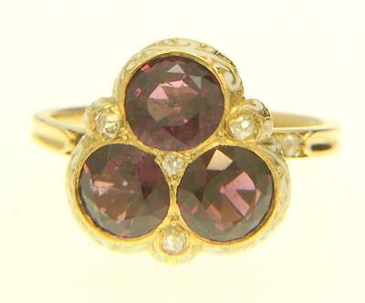 A Fabulous 3 Stone 4ct Garnet, Enamel & Rose Cut Diamond Ring Circa 1800's