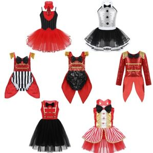 Child-Girls-Circus-Ringmaster-Showman-Fancy-Dress-Costume-Kids-Halloween-Clothes