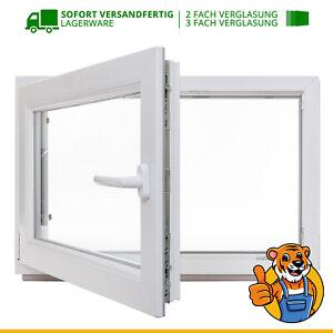 Kellerfenster 60 mm Profil Kunststoff BxH: 100 x 40 cm 3 fach Verglasung Fenster wei/ß 1000 x 400 mm DIN Rechts