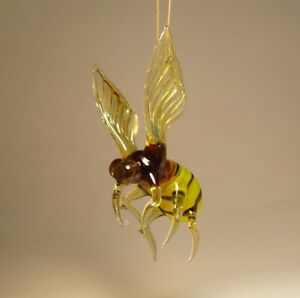 Miniature Tiny Lampwork Hand Blown Glass Flying Bee Bumblebee Figurine New