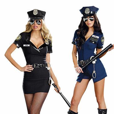 Women Black Blue Police Cop Uniform Officer Halloween Costume Fancy Dress