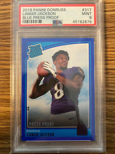 2018-Donruss-Lamar-Jackson-BLUE-PRESS-PROOF-Rc-Rookie-PSA-9-Low-Pop-Rare-Hot