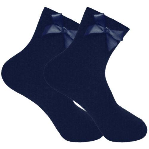 6 Pack Cotton Mix Girls School Ankle Socks Plain Back to School Children Kids 3