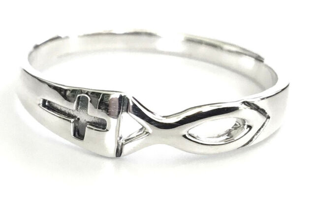 Sterling Silver Jesus Fish Cross Christian Ring Size 6, 7, 8, 9, 10, 11, 12, 13