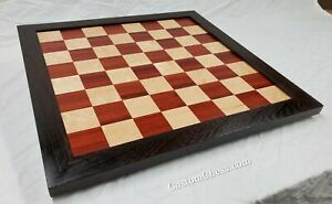 Handmade-Chess-Board-2-1-4-inch-Bloodwood-amp-Birdseye-Maple-with-Wenge-border