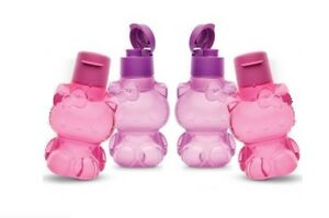 New-Tupperware-Hello-Kitty-Bottle-4pc-with-Flip-Top-Cap-2-Pink-2-Purple