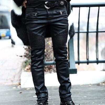 BytheR Men's Fashion 8027 Black Casual Slim Fit Coating Biker Jean P000BHDO